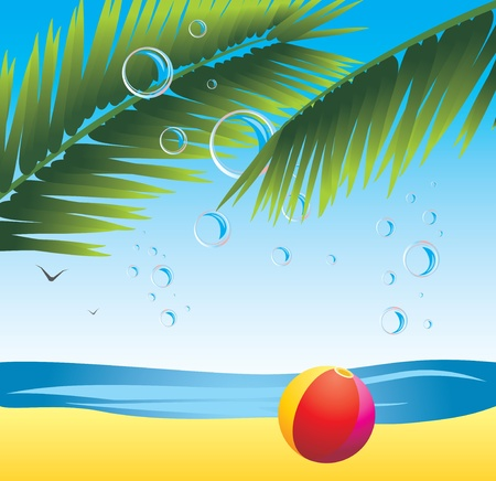 Palm branches with bubbles and beach ball. Seascape Stock Vector - 9932770