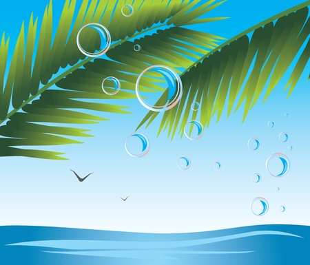 Palm branches with bubbles. Seascape Stock Vector - 9932769