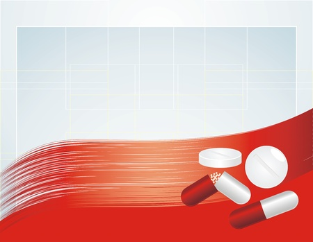 convalescence: Set of pills on the abstract background