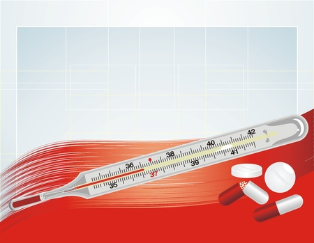 Thermometer and pills on the abstract background Stock Vector - 9932774