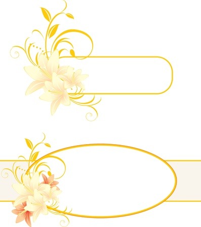 artificial flowers: Frames with lilies and floral ornament Illustration