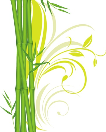 Green bamboo with floral ornament Vector