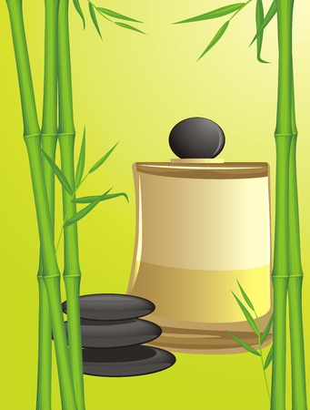 Green bamboo, black stones and spa oil Vector