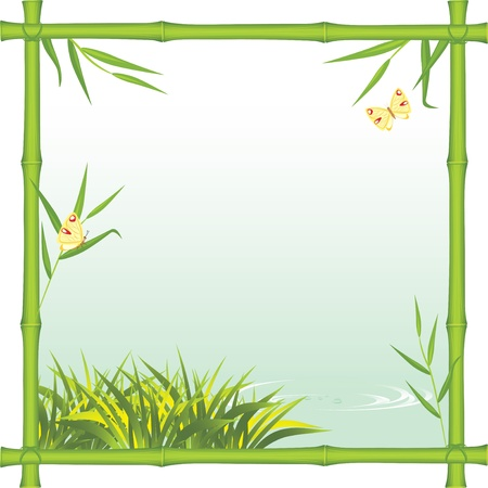 Bamboo frame with kind of the river Stock Vector - 9998999