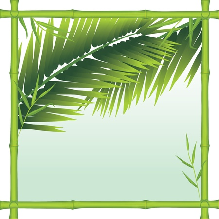 Bamboo frame with palm branches Stock Vector - 9998997