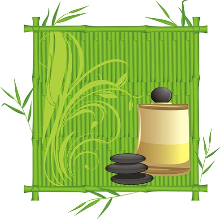 Spa oil in the bamboo frame