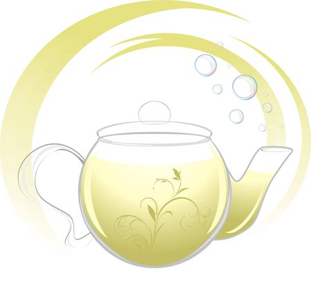 Teapot with green tea Vector