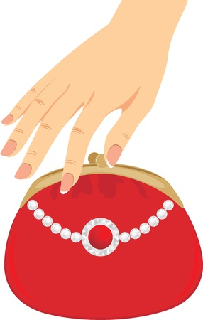 french manicure: Stylish red female purse Illustration