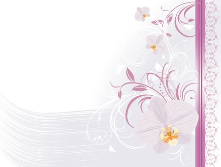 Orchids with floral ornament. Festive card Vector