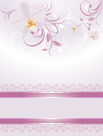 Orchids with decorative sprigs. Festive card Illustration