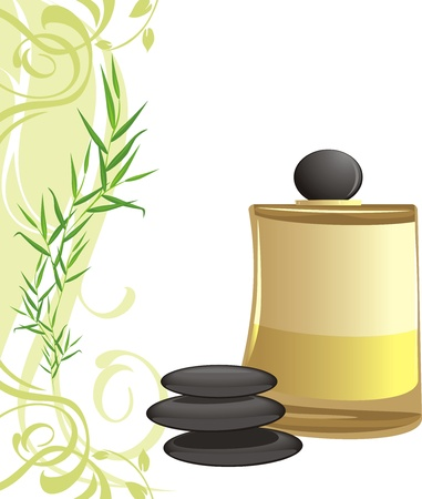 Spa oil, black stones and sprig Vector