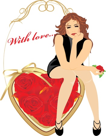 Beautiful woman sitting on the heart with red roses. Valentines card Stock Vector - 10212393