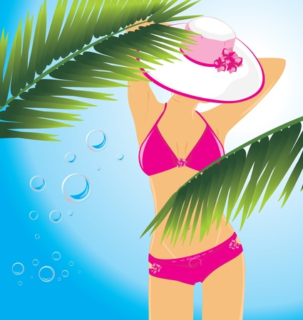 bathing suit: Beautiful woman in a swimming suit among the palms
