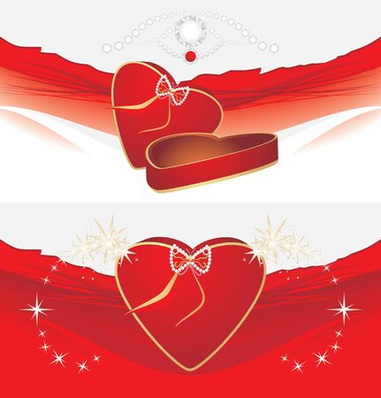 Holiday red box with shining stresses. Two decorative backgrounds Stock Vector - 10328131