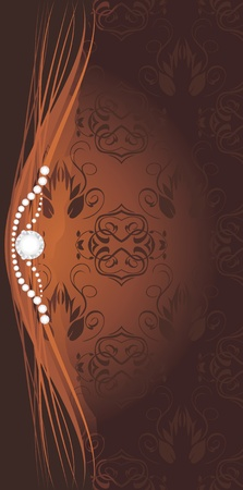 baroque pearl: Shining stresses on the decorative brown background for design