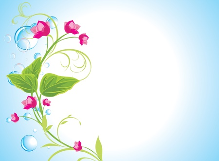 Drops and sprig with pink flowers on the abstract blue background Illustration