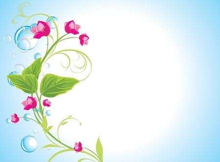 a sprig: Las gotas y una ramita de flores de color rosa en el fondo azul abstracto
