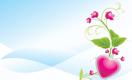 Sprig with pink flowers and heart on the abstract blue background