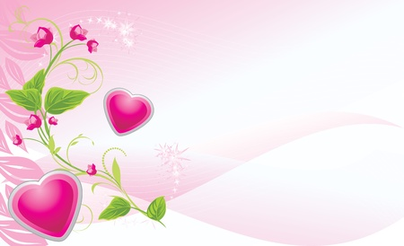 artificial flowers: Sprig with pink flowers and hearts on the abstract background. Banner