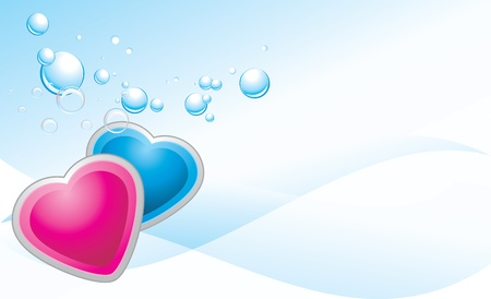 Pink and blue hearts on the abstract background. Banner Vector