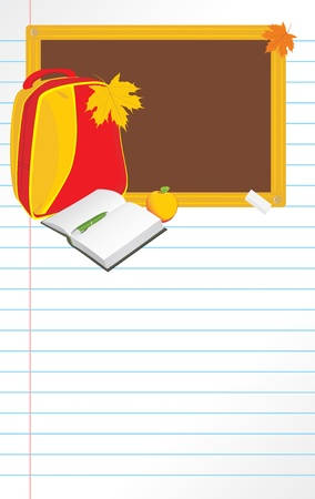 belongings: Back to school. Notebook page Illustration