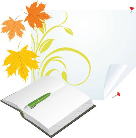 Notebook, pen and maple leaves on the pure page Stock Vector - 10412676