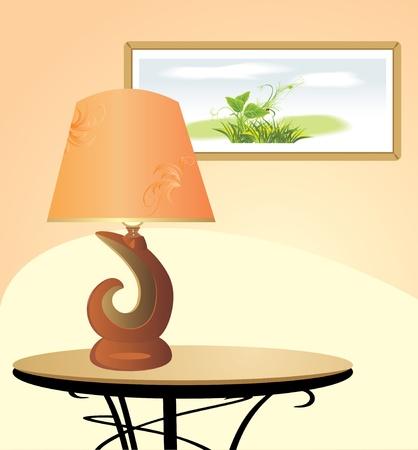 lampekap: Nacht lamp en beeld. Fragment van het interieur Stock Illustratie