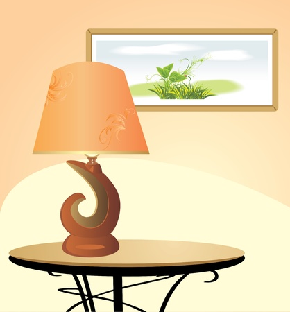 Night lamp and picture. Fragment of interior Vector