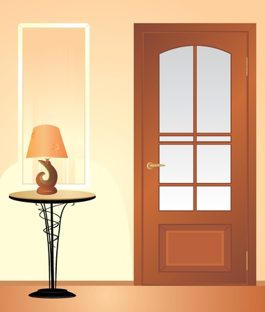 Table night lamp. Fragment of living room Vector