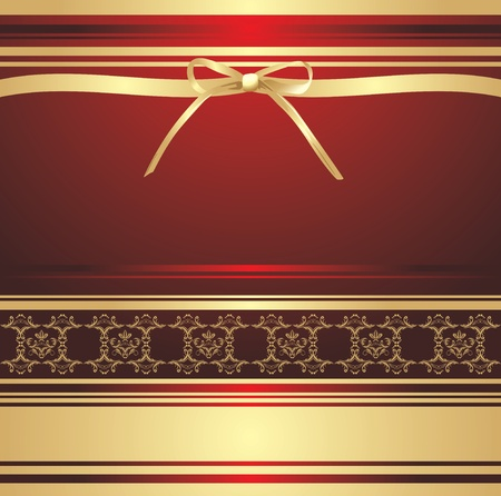 Golden bow on the decorative background. Holiday wrapping Vectores