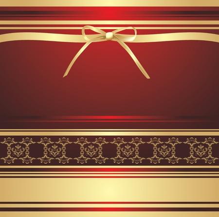 Arco dorado sobre el fondo decorativo. Envoltura de vacaciones