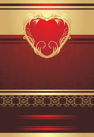golden heart: Decorative red heart on the background for holiday wrapping Illustration