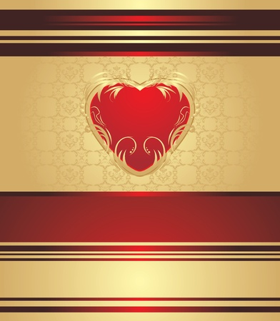 gold heart: Red heart on the decorative background for holiday wrapping