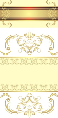 Two decorative golden borders for festive cards Vector
