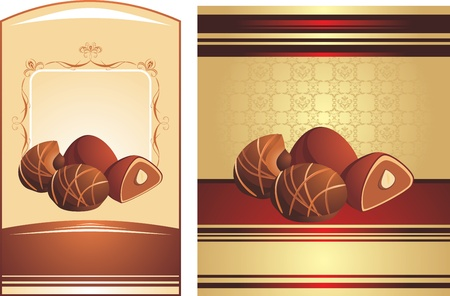Chocolate candies with nuts. Two wrapping Vector