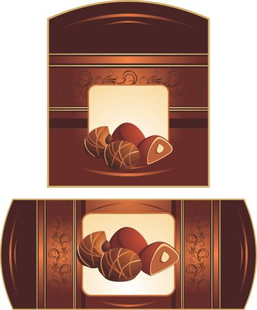 truffle: Chocolate candies with nuts. Two patterns for wrapping