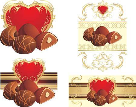 truffle: Chocolate candies with nuts to the Valentines day Illustration