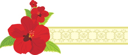 artificial flower: Red flowers on the decorative ribbon