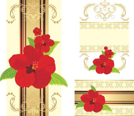Flores rojas en la cinta de opciones decorativa con adorno. Conjunto de dise�o Foto de archivo - 10613261