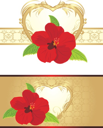 Red flower on the decorative ribbon. Compositions to the Valentines day Vector