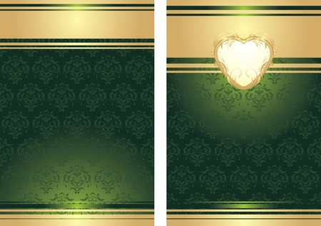 Golden heart on the decorative background for holiday wrapping Illustration