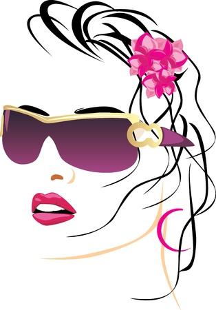 fashion bril: Portret van mooie vrouw met een bril Stock Illustratie