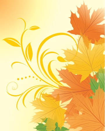 sprig: Autumn maple leaves with decorative sprig Illustration