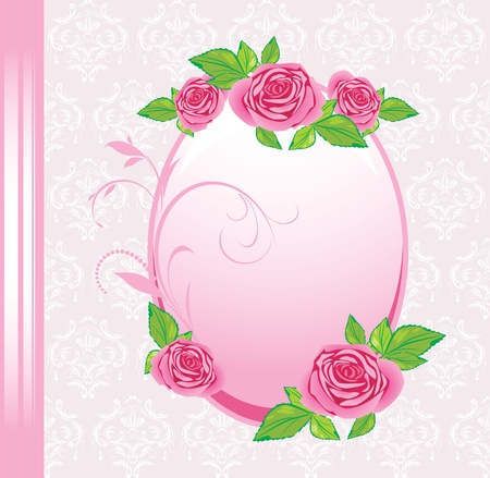 Frame with roses on the decorative background. Festive card Illustration