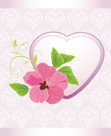 Heart with pink flower on the decorative background