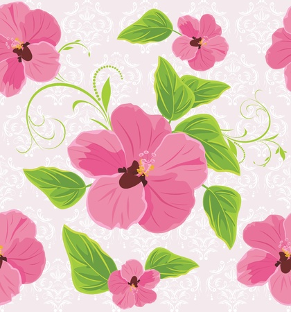 Decorative background with pink flowers Vector