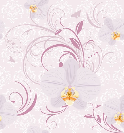 Decorative background with orchids Vector