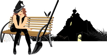 Sitting witch on the wooden bench. Halloween composition Vectores