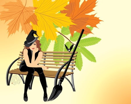 autumn woman: Sitting witch on the wooden bench. Halloween card Illustration