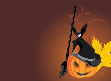 Halloween pumpkin with broom and bat. Halloween banner Vector